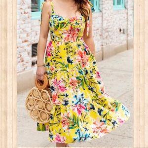 NWT Eliza J. Yellow Floral Midi Sundress